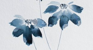 Blue flowers Watercolour Painting / Gift For Her / 6 x 8 Original Watercolour Painting / Wall Art / Original Painting / New House Gift