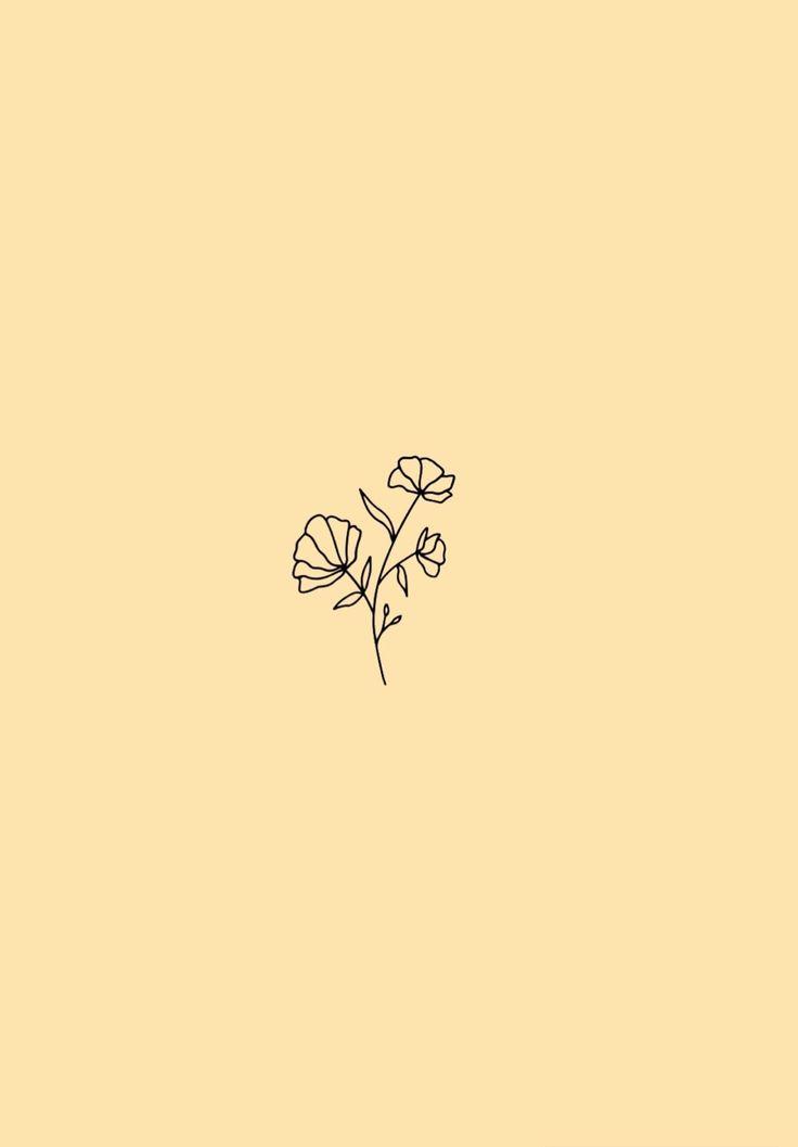 Minimalist Flower Wallpaper Pastel Yellow Background