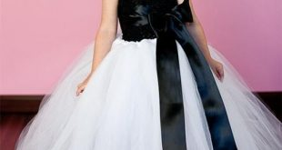 Girls Wedding Flower Girl Dress - Crochet Top, Sleeveless, Tulle Tutu with Ribbon Bow