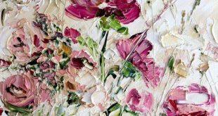 Vanille Himmel Rosa Rot Beige Weiß Kunst Original Ölgemälde Spachtel Textur ....