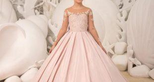 Blush pink Flower Girl Dress - Birthday Wedding party Bridesmaid Holiday Blush pink Lace Flower Girl