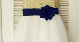 Gold Sequin Ivory Tulle With Navy Blue Flower Sash Knee Length Flower Girl Dress