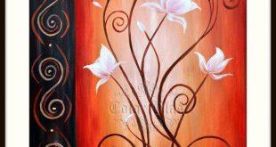 Weiße Blumen - White Lotus auf Orange hinterlegt. 11 x 14. Abstrakte Floral Art...