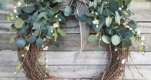 """26"""" Eucalyptus Wreath with a touch of little white flowers Wreath for All Year Round - Everyday Burlap Wreath, Door Wreath, Wedding Wreath"""