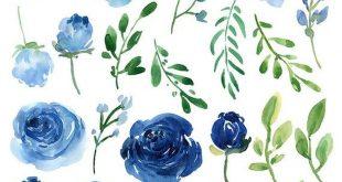 Acuarela flores Clipart rosas azules hojas ramas de uso comercial libre Aquarelle Clip Arte Flor separada PNG & Arreglos Florales