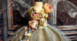 Ätherische Erde Gaia Fee Kostüm Kleid, romantische Blätter Blume Fee Kleid, Fee Geburtstagskleid, Fee Festival Kleid, Blumenmädchen Kleid