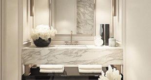 BLACK and WHITE GLAM washroom. Luxe materials: mar... - #black #Glam #Luxe #mar ...
