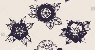 Black Flowers Traditional Tattoo Designs Stock Vector (Royalty Free) 1052592431