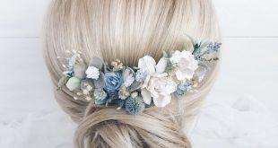 Blue Flower hair piece wedding, Bridal Flower hair comb, Blue bridal hair clip, Wedding blue flower vine