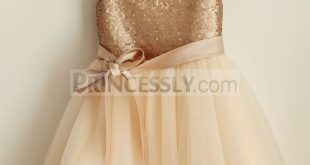 Cap Sleeves Champagne Sequin Tulle Wedding Flower Girl Dress with belt
