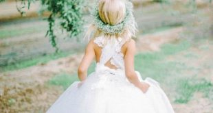 Cute A-line Long White Tulle Flower Girl Dress with Ribbon