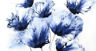 Floral navy blue wall art