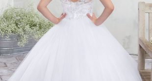Long Flower Girl Dress with Lace Appliques by Mary's Bridal MB9010