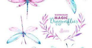 Magischen Libellen. Aquarell handgemalte Cliparts Kränze