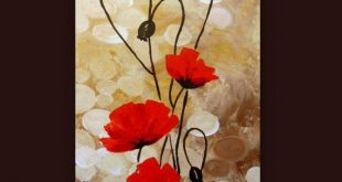 Original Acrylbild - Rote Mohnblumen Blumen Felder Rot Beige Braun Floral Ab
