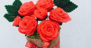 Personalised Felt Red Roses Pot, Teacher's Christmas Thank You Gift, Fake Ar...