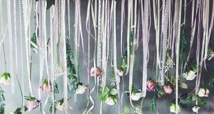 Pink flower garland, flower wall hanging, wedding decor, wedding hanging, weddin...