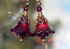 Red Flower Earrings, Unique Hand Painted Flower Earrings, Boho Dangle Earrings, Vintage Style Earrings, Garnet Earrings, Wedding Jewelry