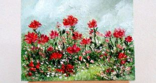 Red Flowers . 3x4inch, original miniature oil painting, gift item