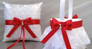 Scarlet Red Wedding Flower Girl Basket & Ring Bearer Pillow Set on Ivory or White ~ Allison Line ~ (May also be purchased individually)