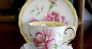 Tuscan, Pink Flowers Teacup, Vintage Tea Cup & Saucer, Footed Bone China 15329
