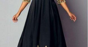 V Neck Lace Panel High Waist Dress