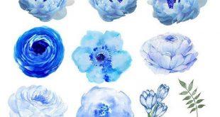 Watercolor Flower Clipart #24, Floral Clip Art, Light Blue and Greens, Watercolor Bundle, Roses Clip