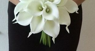 White Calla Lily Bridal Bouquet with Calla Lily Boutonniere-Real Touch Calla Lily Bouquet-Bridesmaid Bouquet-Silk Flower Wedding Bouquet