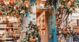 blaues Café mit leuchtend orangefarbenen Blüten. WO IST DAS!? – Travel Destina